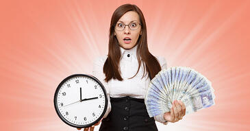 Woman holding clock and cash unsure how to manage her credit control without a credit controller